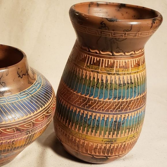 Pottery Horsehair Bookends and Vase